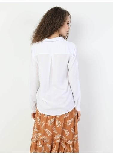 Colin's Regular Fit Shirt Neck Kadın Beyaz Uzun Kol Gömlek Beyaz